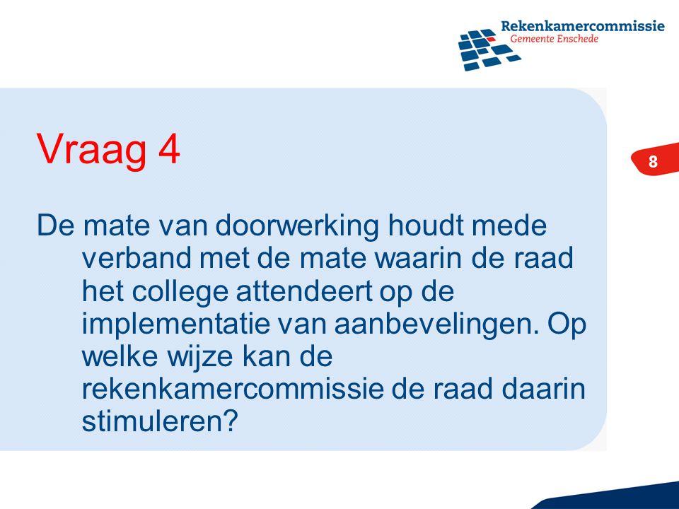 8 De mate van doorwerking houdt mede verband met de mate waarin de raad het college attendeert op de implementatie van aanbevelingen.
