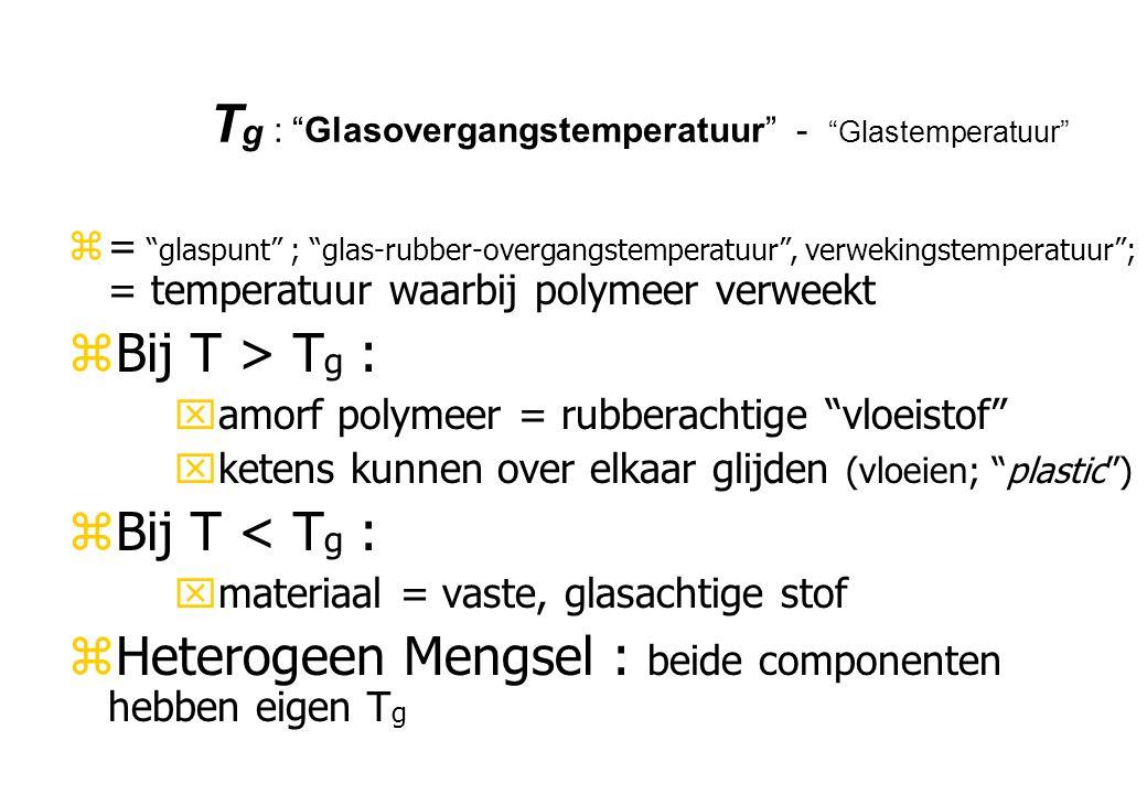 """T g : """"Glasovergangstemperatuur"""" - """"Glastemperatuur"""" z= """"glaspunt"""" ; """"glas-rubber-overgangstemperatuur"""", verwekingstemperatuur""""; = temperatuur waarbij"""