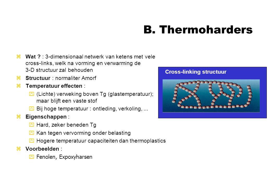 B. Thermoharders zWat ? : 3-dimensionaal netwerk van ketens met vele cross-links, welk na vorming en verwarming de 3-D structuur zal behouden zStructu