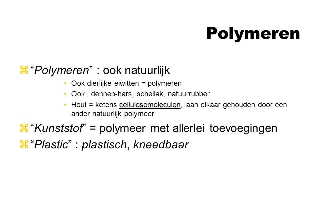 """Polymeren z""""Polymeren"""" : ook natuurlijk Ook dierlijke eiwitten = polymeren Ook : dennen-hars, schellak, natuurrubber cellulosemoleculenHout = ketens c"""