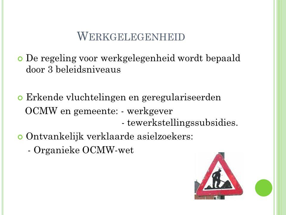 W ERKGELEGENHEID De regeling voor werkgelegenheid wordt bepaald door 3 beleidsniveaus Erkende vluchtelingen en geregulariseerden OCMW en gemeente: - werkgever - tewerkstellingssubsidies.