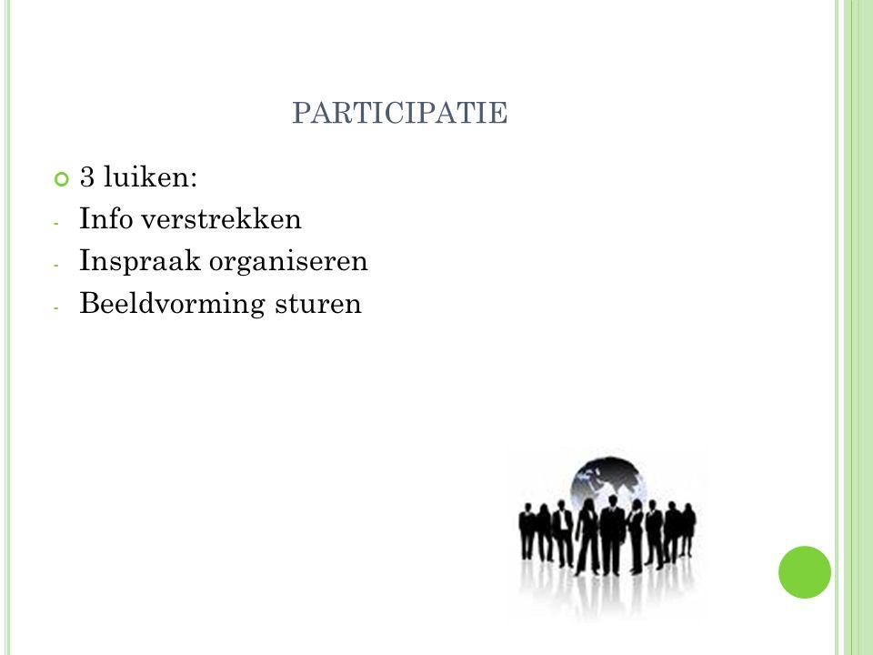 PARTICIPATIE 3 luiken: - Info verstrekken - Inspraak organiseren - Beeldvorming sturen