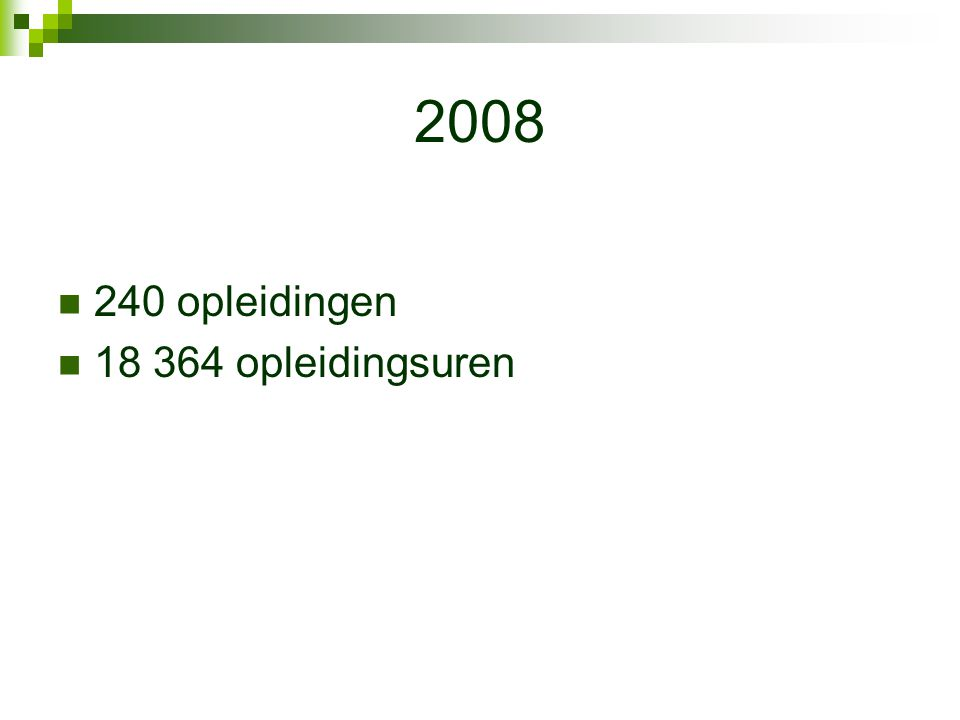 2008 240 opleidingen 18 364 opleidingsuren