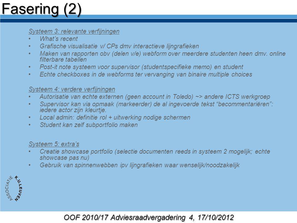 OOF 2010/17 Adviesraadvergadering 4, 17/10/2012 Systeem 3: relevante verfijningen What's recent Grafische visualisatie v/ CPs dmv interactieve lijngrafieken Maken van rapporten obv (delen v/e) webform over meerdere studenten heen dmv.