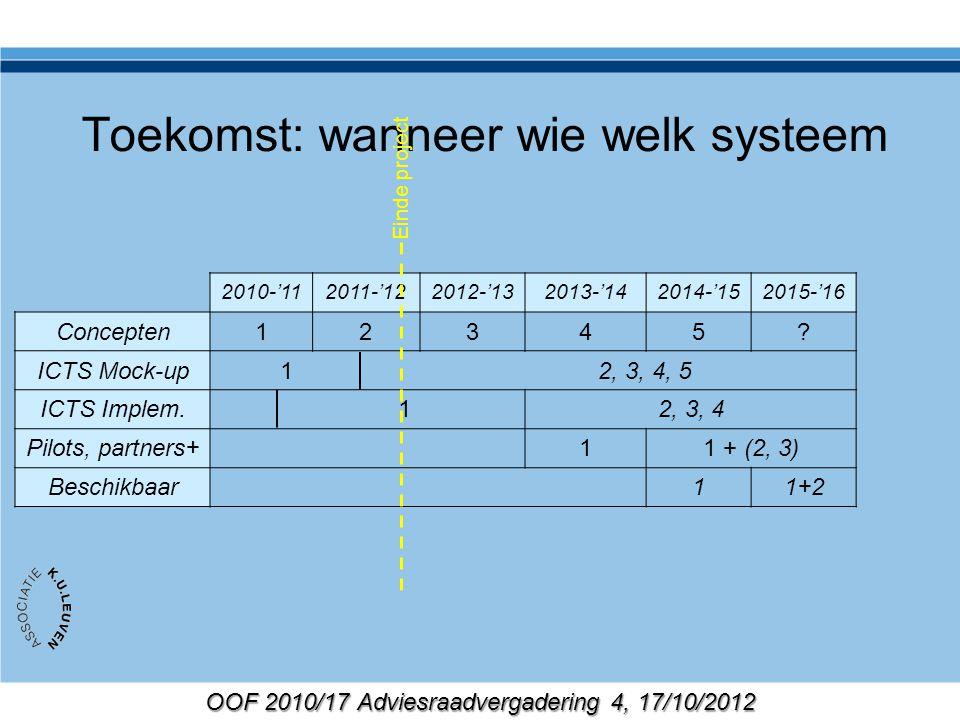 OOF 2010/17 Adviesraadvergadering 4, 17/10/2012 Toekomst: wanneer wie welk systeem 2010-'112011-'122012-'132013-'142014-'152015-'16 Concepten12345? IC