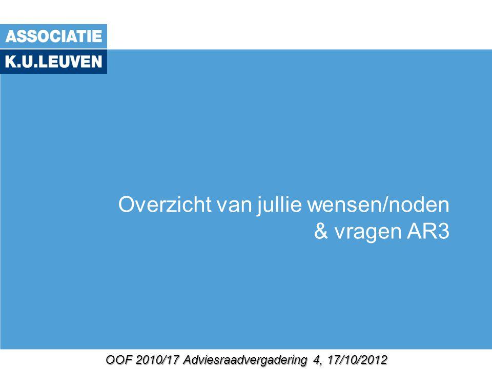 OOF 2010/17 Adviesraadvergadering 4, 17/10/2012 Overzicht van jullie wensen/noden & vragen AR3