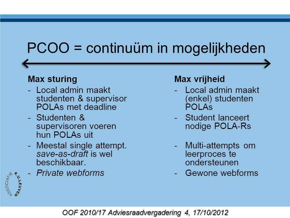 OOF 2010/17 Adviesraadvergadering 4, 17/10/2012 PCOO = continuüm in mogelijkheden Max sturing -Local admin maakt studenten & supervisor POLAs met deadline -Studenten & supervisoren voeren hun POLAs uit -Meestal single attempt.