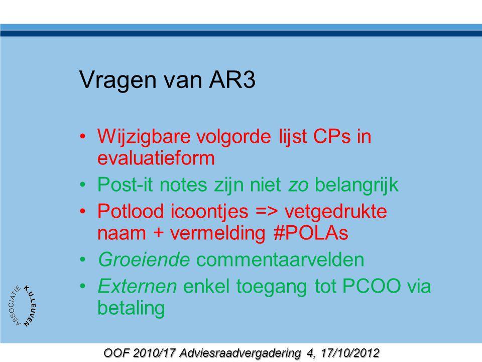 OOF 2010/17 Adviesraadvergadering 4, 17/10/2012 Vragen van AR3 Wijzigbare volgorde lijst CPs in evaluatieform Post-it notes zijn niet zo belangrijk Po