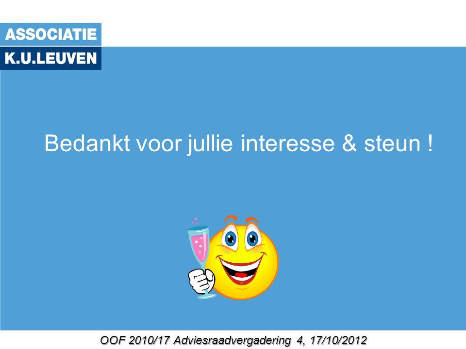 OOF 2010/17 Adviesraadvergadering 4, 17/10/2012 Bedankt voor jullie interesse & steun !