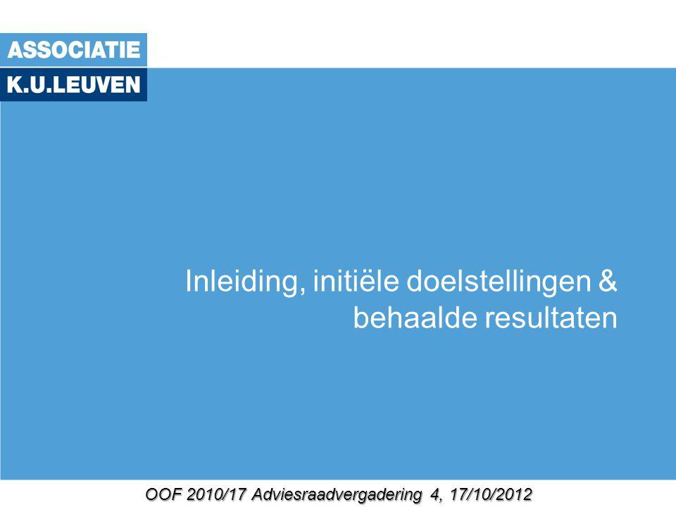 OOF 2010/17 Adviesraadvergadering 4, 17/10/2012 Inleiding, initiële doelstellingen & behaalde resultaten