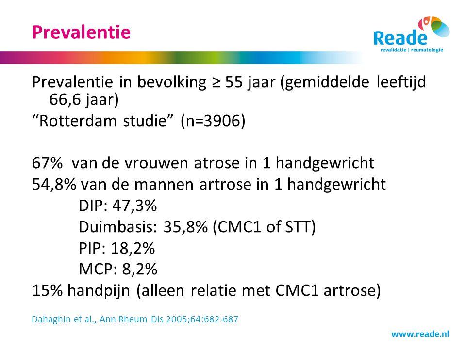 """Prevalentie Prevalentie in bevolking ≥ 55 jaar (gemiddelde leeftijd 66,6 jaar) """"Rotterdam studie"""" (n=3906) 67% van de vrouwen atrose in 1 handgewricht"""