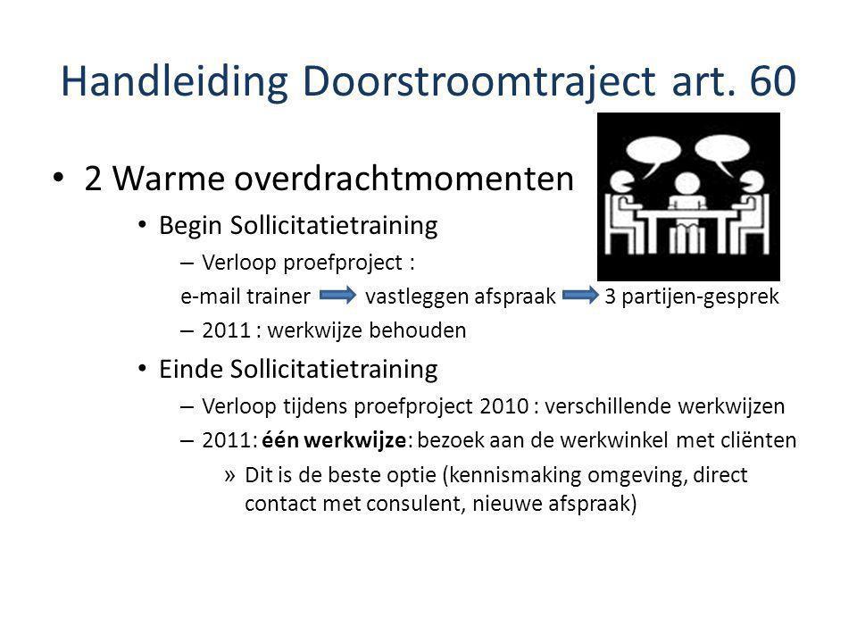 Handleiding Doorstroomtraject art. 60 2 Warme overdrachtmomenten Begin Sollicitatietraining – Verloop proefproject : e-mail trainer vastleggen afspraa