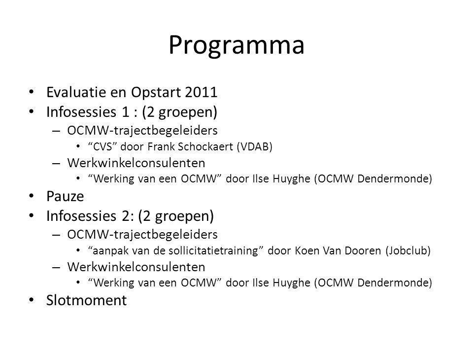 """Programma Evaluatie en Opstart 2011 Infosessies 1 : (2 groepen) – OCMW-trajectbegeleiders """"CVS"""" door Frank Schockaert (VDAB) – Werkwinkelconsulenten """""""