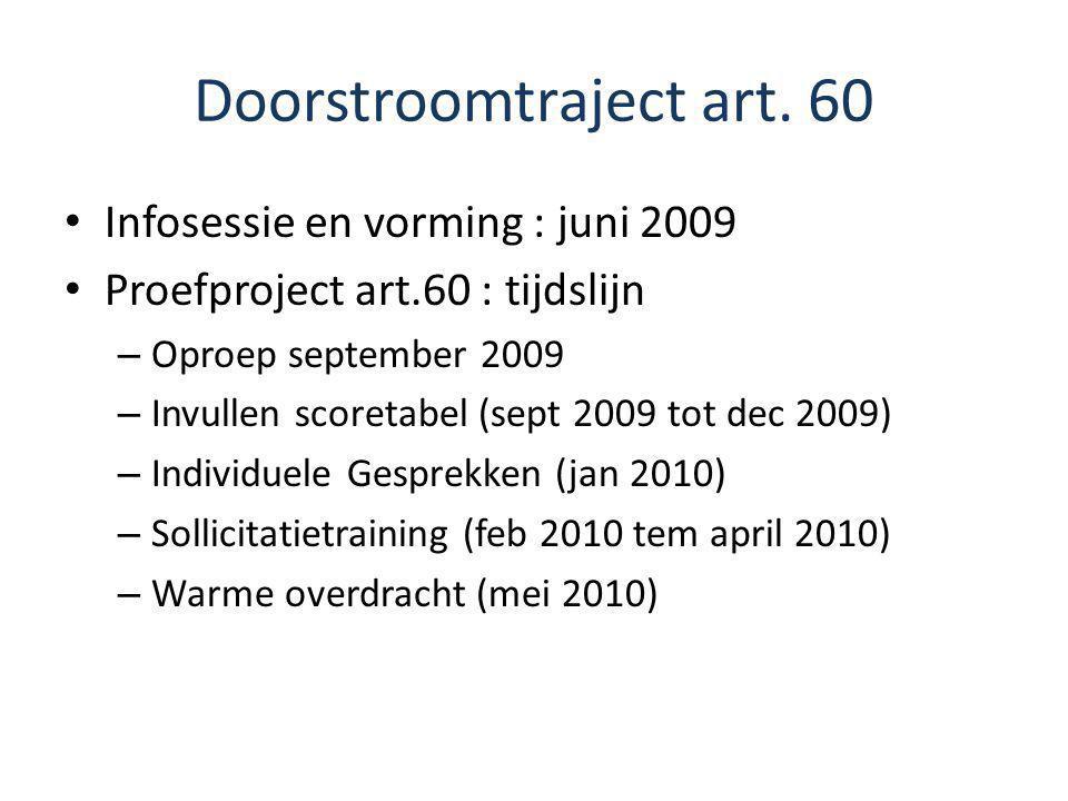 Doorstroomtraject art. 60 Infosessie en vorming : juni 2009 Proefproject art.60 : tijdslijn – Oproep september 2009 – Invullen scoretabel (sept 2009 t