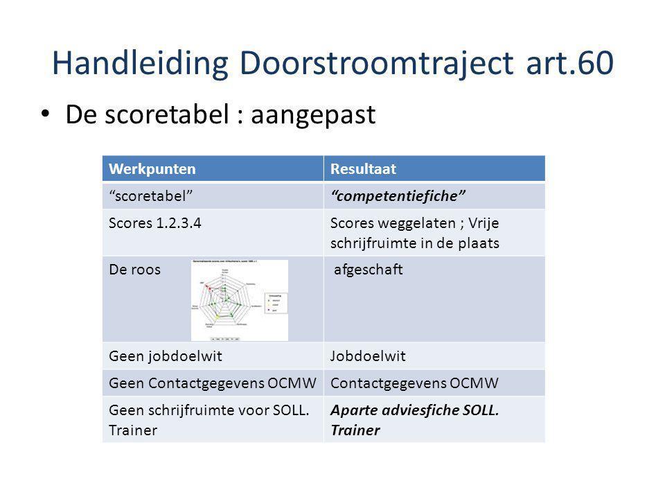 """Handleiding Doorstroomtraject art.60 De scoretabel : aangepast WerkpuntenResultaat """"scoretabel""""""""competentiefiche"""" Scores 1.2.3.4Scores weggelaten ; Vr"""