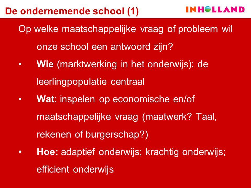 De ondernemende school (1) Op welke maatschappelijke vraag of probleem wil onze school een antwoord zijn? Wie (marktwerking in het onderwijs): de leer