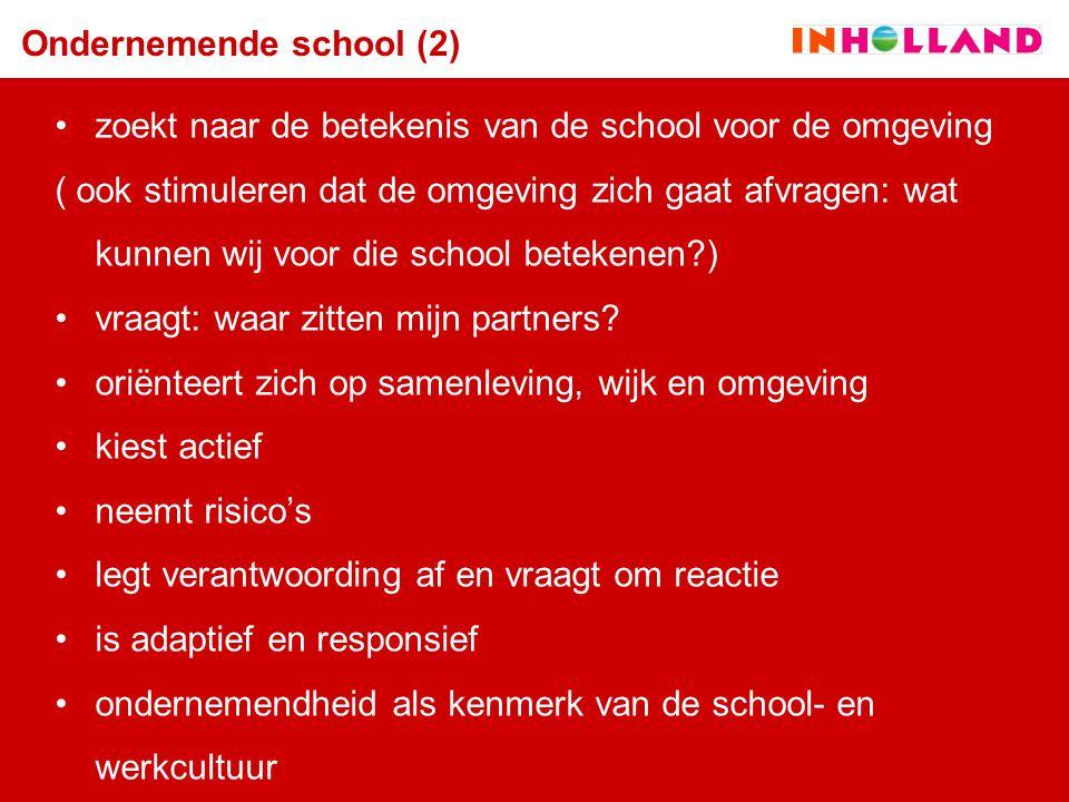 Ondernemende school (2) zoekt naar de betekenis van de school voor de omgeving ( ook stimuleren dat de omgeving zich gaat afvragen: wat kunnen wij voo