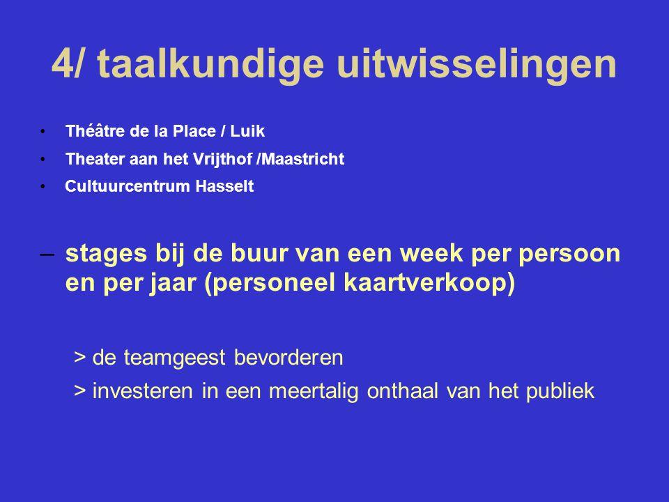 4/ taalkundige uitwisselingen Théâtre de la Place / Luik Theater aan het Vrijthof /Maastricht Cultuurcentrum Hasselt –stages bij de buur van een week per persoon en per jaar (personeel kaartverkoop) > de teamgeest bevorderen > investeren in een meertalig onthaal van het publiek