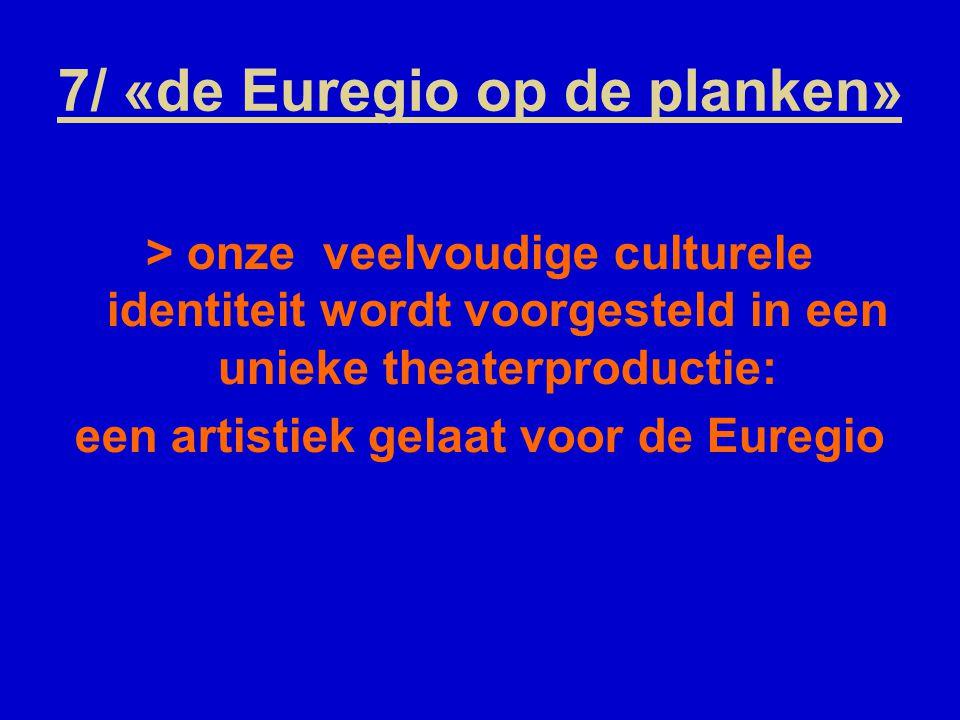 7/ «de Euregio op de planken» > onze veelvoudige culturele identiteit wordt voorgesteld in een unieke theaterproductie: een artistiek gelaat voor de Euregio