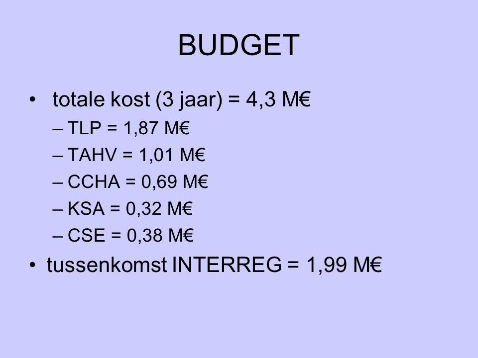 BUDGET totale kost (3 jaar) = 4,3 M€ –TLP = 1,87 M€ –TAHV = 1,01 M€ –CCHA = 0,69 M€ –KSA = 0,32 M€ –CSE = 0,38 M€ tussenkomst INTERREG = 1,99 M€