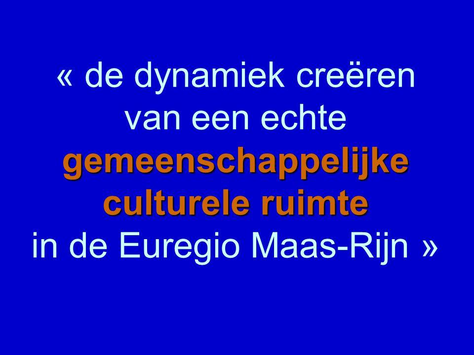gemeenschappelijke culturele ruimte « de dynamiek creëren van een echte gemeenschappelijke culturele ruimte in de Euregio Maas-Rijn »