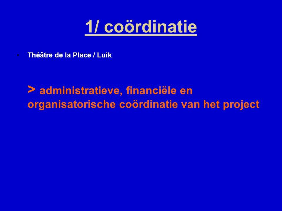 1/ coördinatie Théâtre de la Place / Luik > administratieve, financiële en organisatorische coördinatie van het project