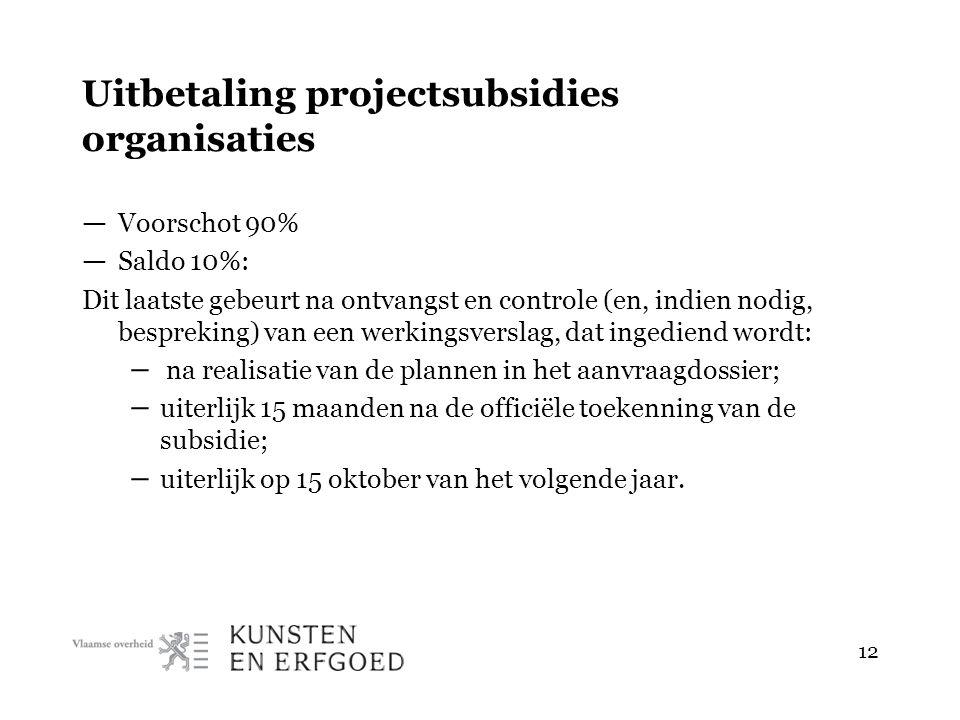 12 Uitbetaling projectsubsidies organisaties — Voorschot 90% — Saldo 10%: Dit laatste gebeurt na ontvangst en controle (en, indien nodig, bespreking) van een werkingsverslag, dat ingediend wordt: – na realisatie van de plannen in het aanvraagdossier; – uiterlijk 15 maanden na de officiële toekenning van de subsidie; – uiterlijk op 15 oktober van het volgende jaar.