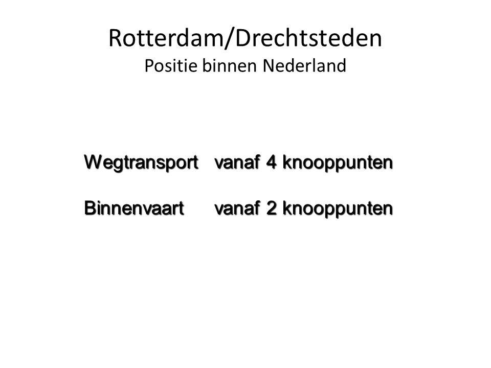 Rotterdam/Drechtsteden Positie binnen Nederland Wegtransport vanaf 4 knooppunten Binnenvaart vanaf 2 knooppunten