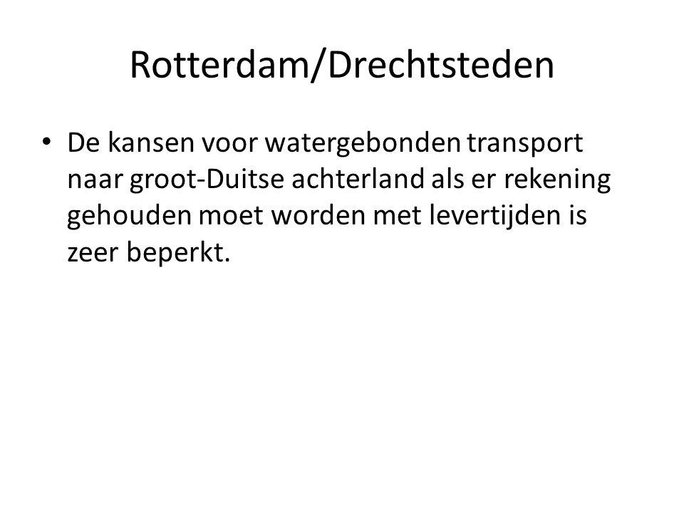 Rotterdam/Drechtsteden De kansen voor watergebonden transport naar groot-Duitse achterland als er rekening gehouden moet worden met levertijden is zeer beperkt.