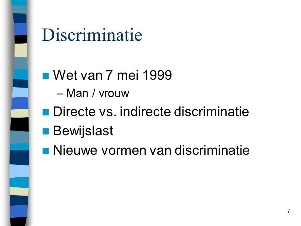 7 Discriminatie Wet van 7 mei 1999 –Man / vrouw Directe vs.