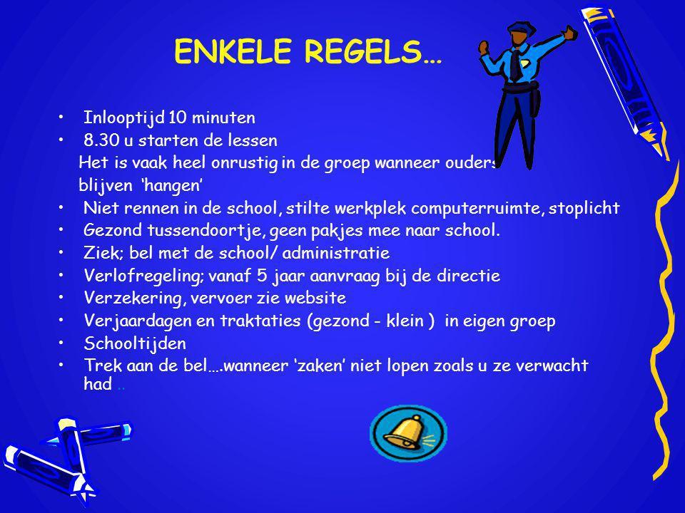 ENKELE REGELS… Inlooptijd 10 minuten 8.30 u starten de lessen Het is vaak heel onrustig in de groep wanneer ouders blijven 'hangen' Niet rennen in de