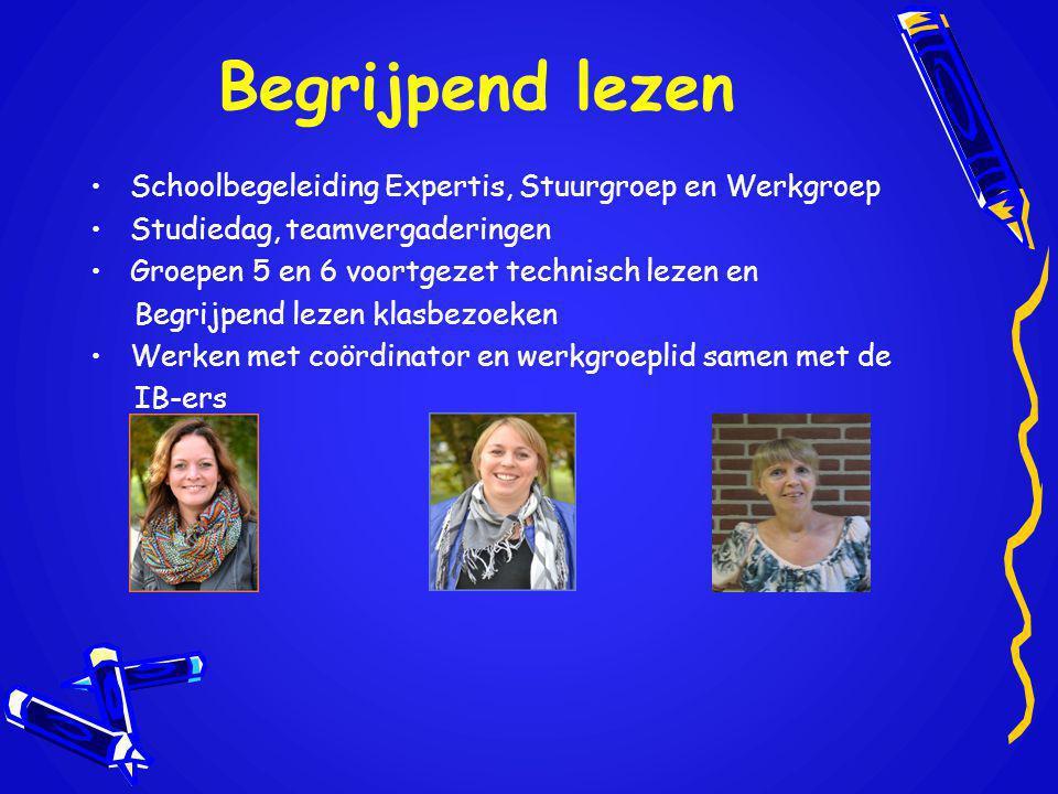 Begrijpend lezen Schoolbegeleiding Expertis, Stuurgroep en Werkgroep Studiedag, teamvergaderingen Groepen 5 en 6 voortgezet technisch lezen en Begrijp