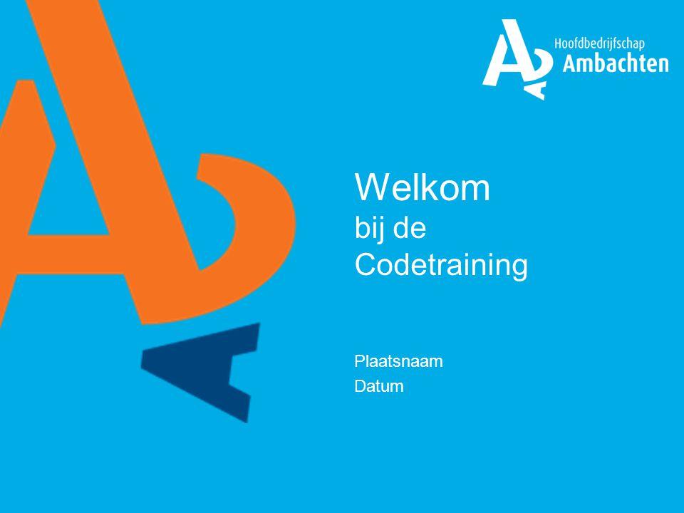 Programma Codetraining 1.Doelstelling Codetraining 2.Voorstelronde 3.Historie en opbouw Code 4.Oefeningen 5.Evaluatie, huiswerk en certificering