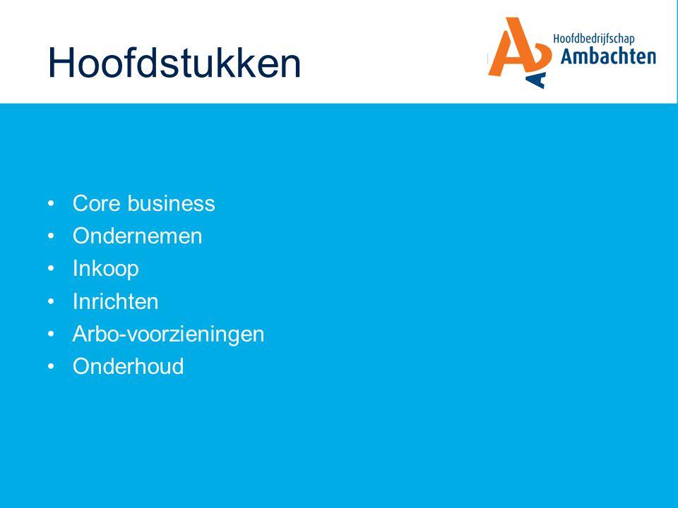 Hoofdstukken Core business Ondernemen Inkoop Inrichten Arbo-voorzieningen Onderhoud
