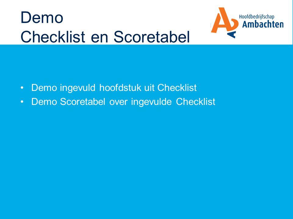 Demo Checklist en Scoretabel Demo ingevuld hoofdstuk uit Checklist Demo Scoretabel over ingevulde Checklist