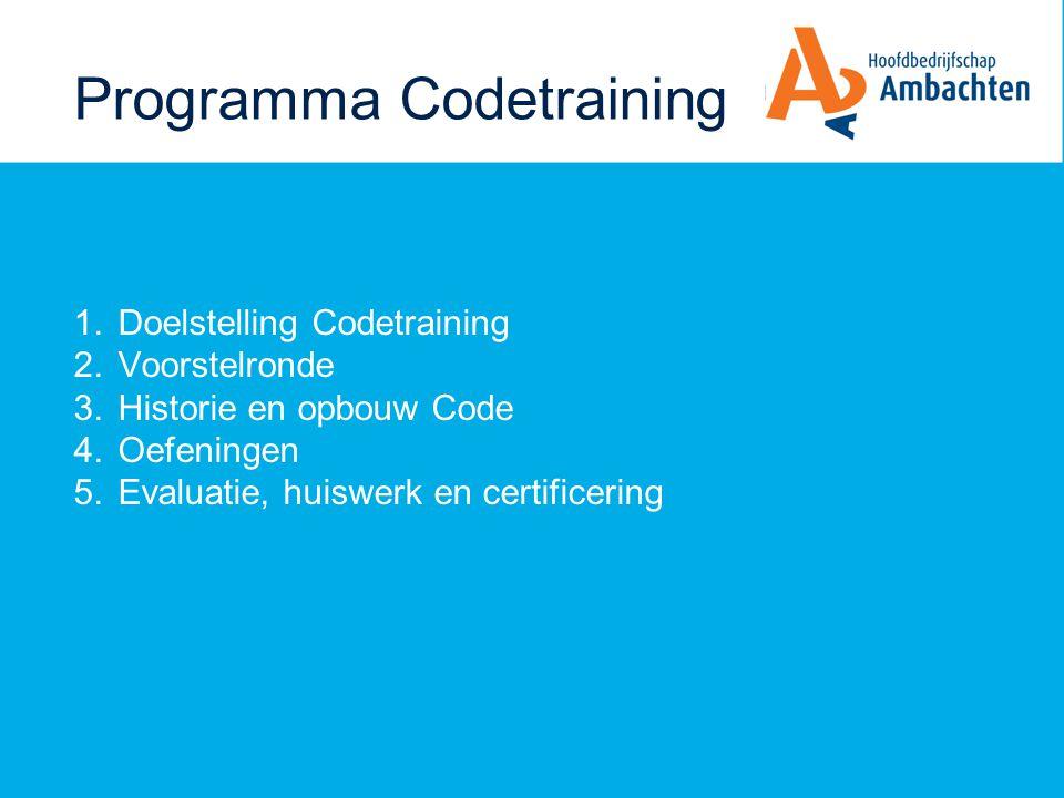 Doelstelling Codetraining Na afloop van deze cursus weet u: - waar de Code voor bedoeld is - hoe de Code is opgebouwd - waar de Code en de Checklist online staan kunt u: - de 3 normeringen en hun status benoemen - de Checklist conform opzet digitaal invullen - prioriteiten stellen en verbeteringen definiëren in een digitaal Plan van aanpak volgens smartcriteria ziet u: - dat de code bijdraagt aan professionalisering van de branche en van uzelf als professional