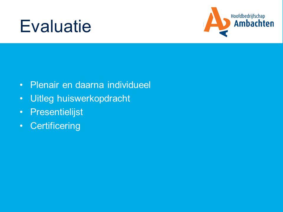 Evaluatie Plenair en daarna individueel Uitleg huiswerkopdracht Presentielijst Certificering