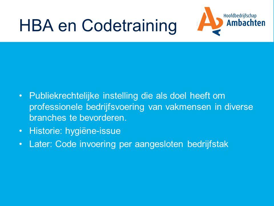 HBA en Codetraining Publiekrechtelijke instelling die als doel heeft om professionele bedrijfsvoering van vakmensen in diverse branches te bevorderen.