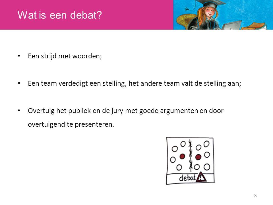 Wat is een debat? Een strijd met woorden; Een team verdedigt een stelling, het andere team valt de stelling aan; Overtuig het publiek en de jury met g