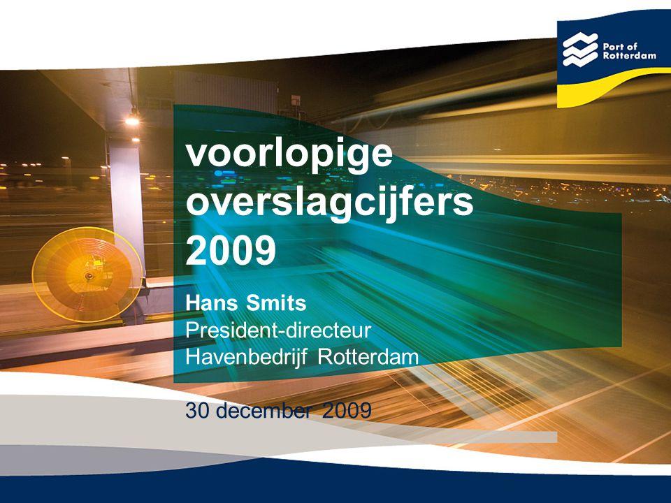 Totale overslag Rotterdam 2008 - 2009 Eenheid: x 1 miljoen ton (m) -8,5%