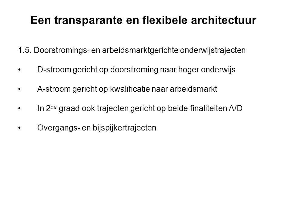 Een transparante en flexibele architectuur 1.5. Doorstromings- en arbeidsmarktgerichte onderwijstrajecten D-stroom gericht op doorstroming naar hoger