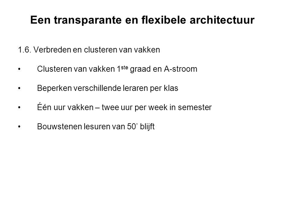 Een transparante en flexibele architectuur 1.6. Verbreden en clusteren van vakken Clusteren van vakken 1 ste graad en A-stroom Beperken verschillende