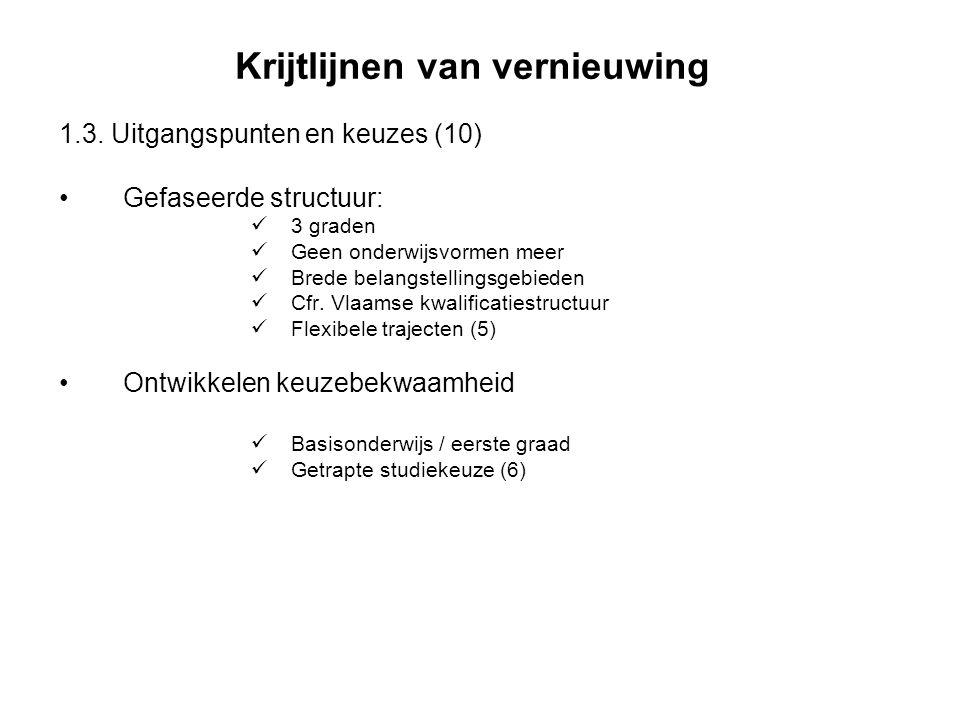 Krijtlijnen van vernieuwing 1.3. Uitgangspunten en keuzes (10) Gefaseerde structuur: 3 graden Geen onderwijsvormen meer Brede belangstellingsgebieden