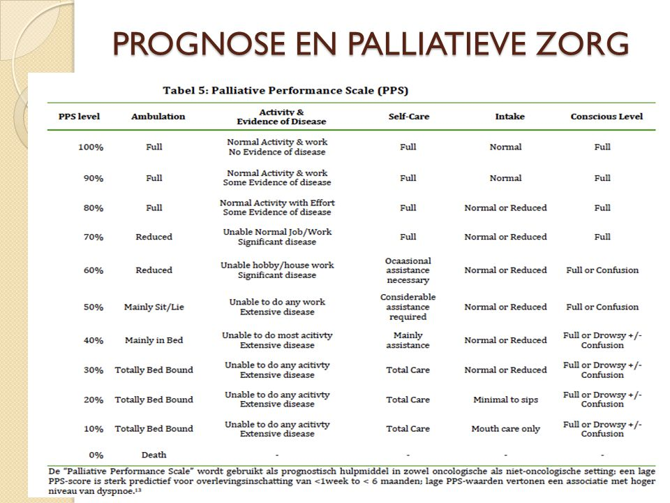 PROGNOSE EN PALLIATIEVE ZORG