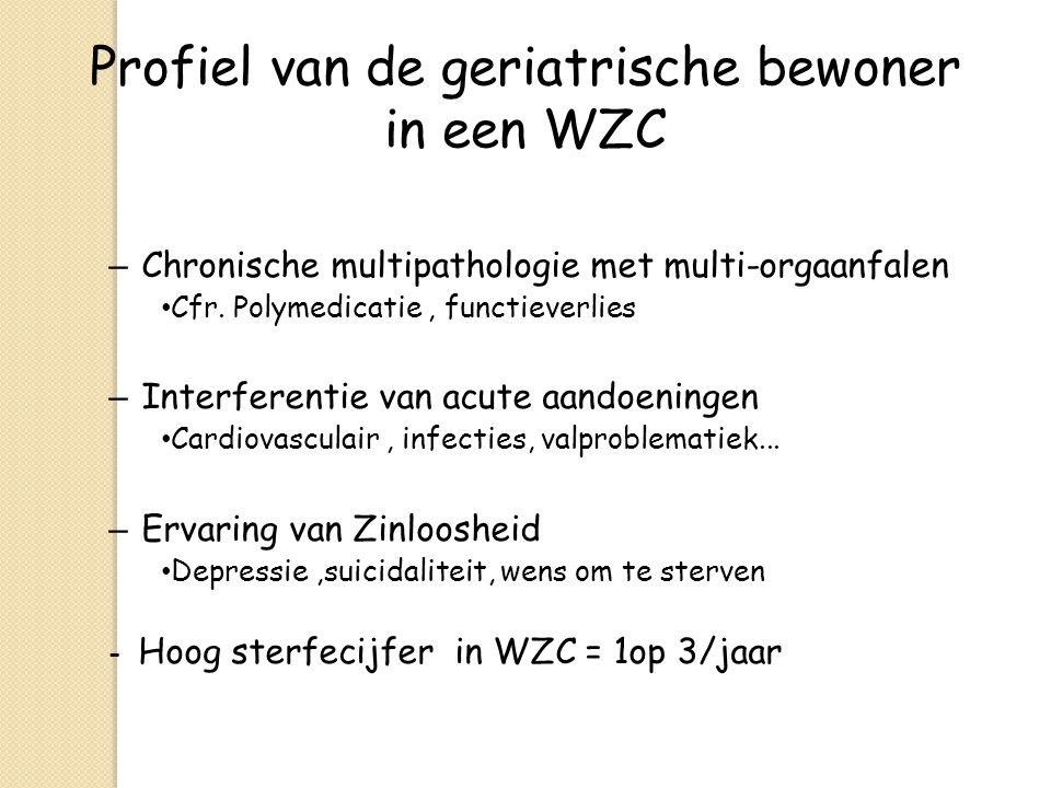 Profiel van de geriatrische bewoner in een WZC – Chronische multipathologie met multi-orgaanfalen Cfr. Polymedicatie, functieverlies – Interferentie v