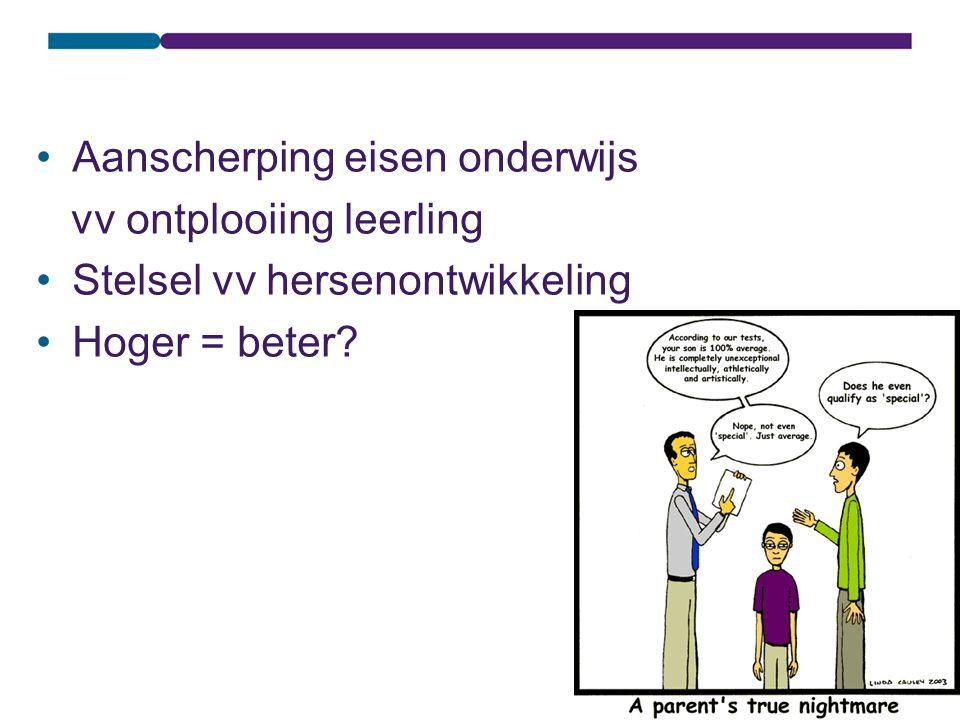Aanscherping eisen onderwijs vv ontplooiing leerling Stelsel vv hersenontwikkeling Hoger = beter?