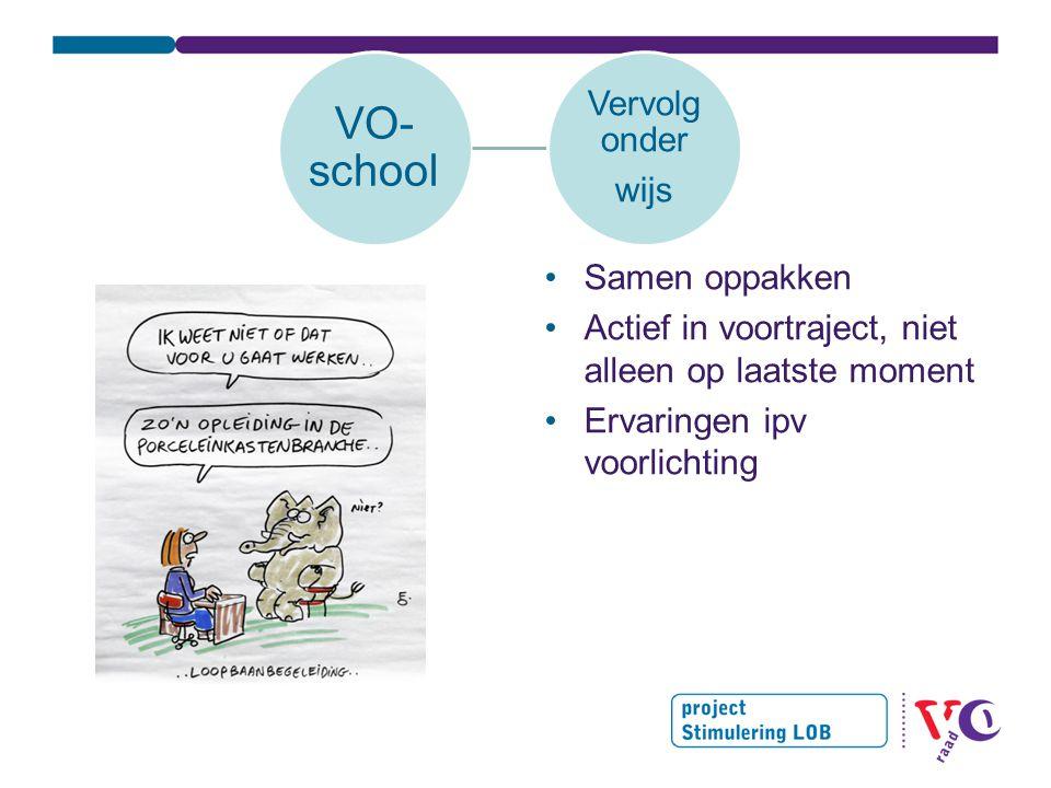 VO- school Vervolg onder wijs Samen oppakken Actief in voortraject, niet alleen op laatste moment Ervaringen ipv voorlichting