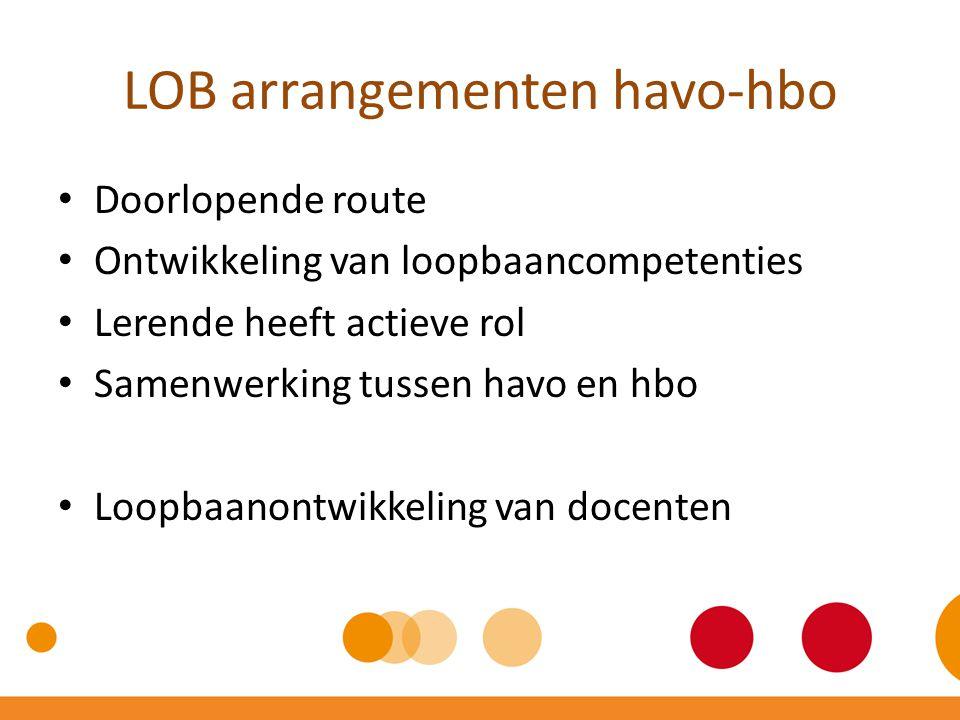 LOB arrangementen havo-hbo Doorlopende route Ontwikkeling van loopbaancompetenties Lerende heeft actieve rol Samenwerking tussen havo en hbo Loopbaano
