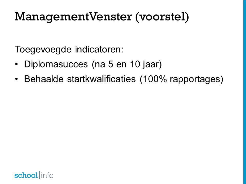 Toegevoegde indicatoren: Diplomasucces (na 5 en 10 jaar) Behaalde startkwalificaties (100% rapportages) ManagementVenster (voorstel)