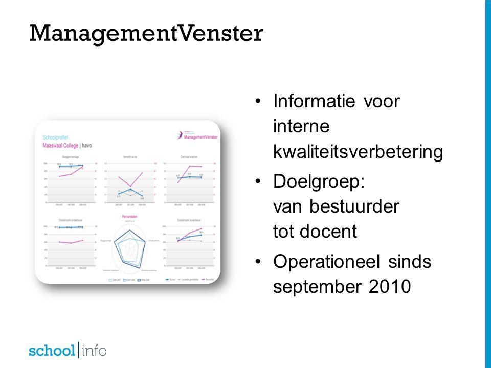 ManagementVenster Informatie voor interne kwaliteitsverbetering Doelgroep: van bestuurder tot docent Operationeel sinds september 2010